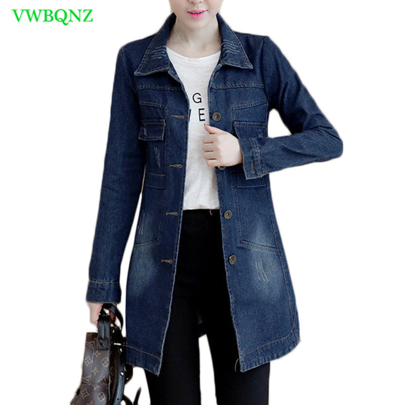 Autumn Winter Korean Denim Jacket Women Slim Long Base Coat Women's Frayed Navy Blue Plus Size Jeans Jackets Coats Cool 5XL A364(China)