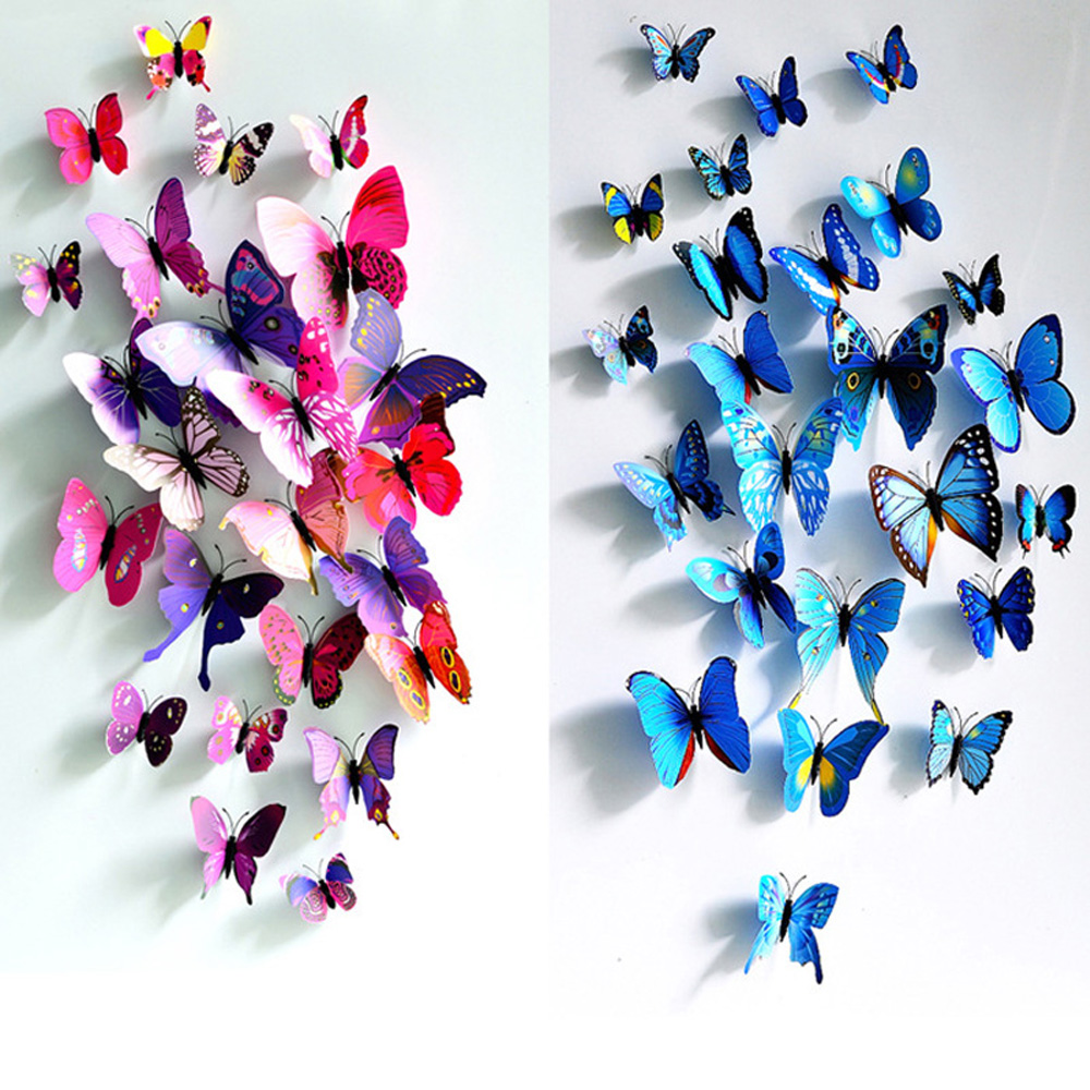 12PCS Wall Stickers Magnet Butterfly 3D PVC Wallpaper Home Decor DIY Wall Stickers 3D Wallpapers For Living Room