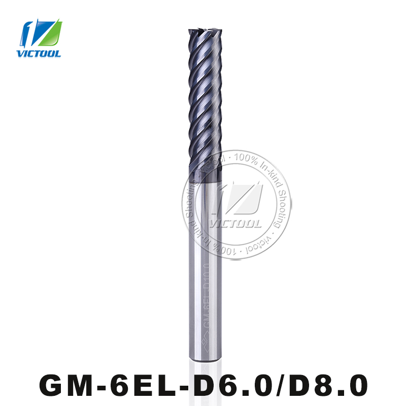 GM-6EL-D6.0/D8.0 Cemented Carbide High Speed 6-Flute Flattened End Mill Straight Shank Milling Tools Machining Stainless Steel gm 2e d11 0 d12 0 d14 0 cemented carbide cnc milling 2 flute flattened end mills with straight shank machining stainless steel