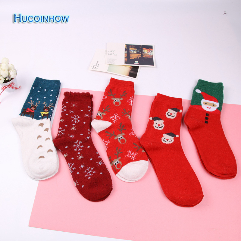 1 Dozen Womens Snowflake Deer Printed Cotton Sports Socks Ladies Female Girl Men Christmas Gift Hosiery Warm Wool Socks Boxed