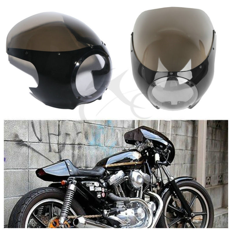цена на 5 3/4 Headlight Fairing Windshield Windscreen For Harley Cafe Racer Drag Racing Sportster Dyna 1200 883 XL Motorcycle