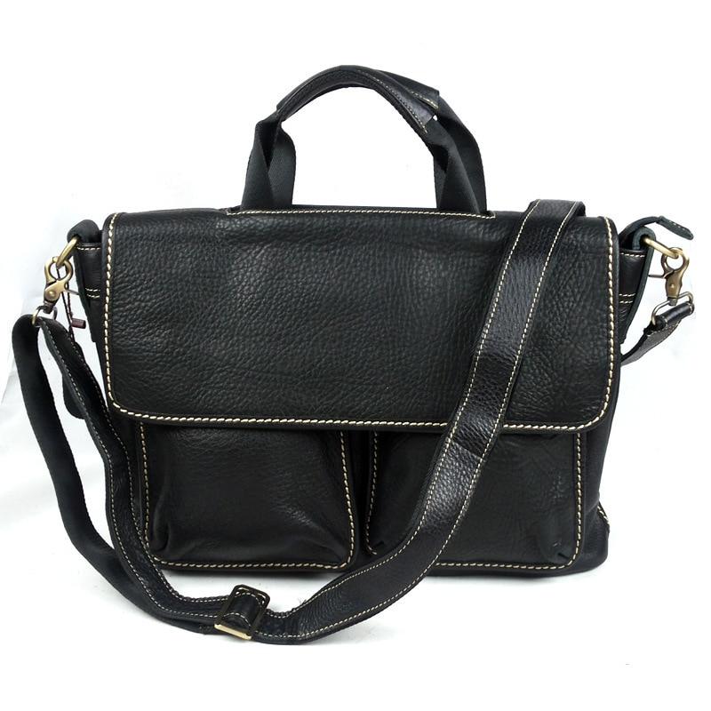 Litchi Grain Genuine Leather Men Briefcase Messenger Bag Handbag Business Leisure Laptop Notebook Satchel Shoulder Bags Pack regem men briefcase fashion business genuine leather the crocodile grain
