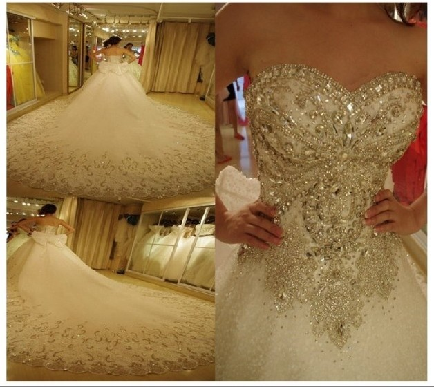2014 luxurious sparkling crystal wedding dress bandage tube top 1.5m ...
