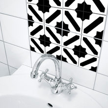 Funlife Black and White Moroccan Style Tile Bedroom Living Room Kitchen Waterproof Wall Sticker Hotel Decorative Wall Sticker(China)