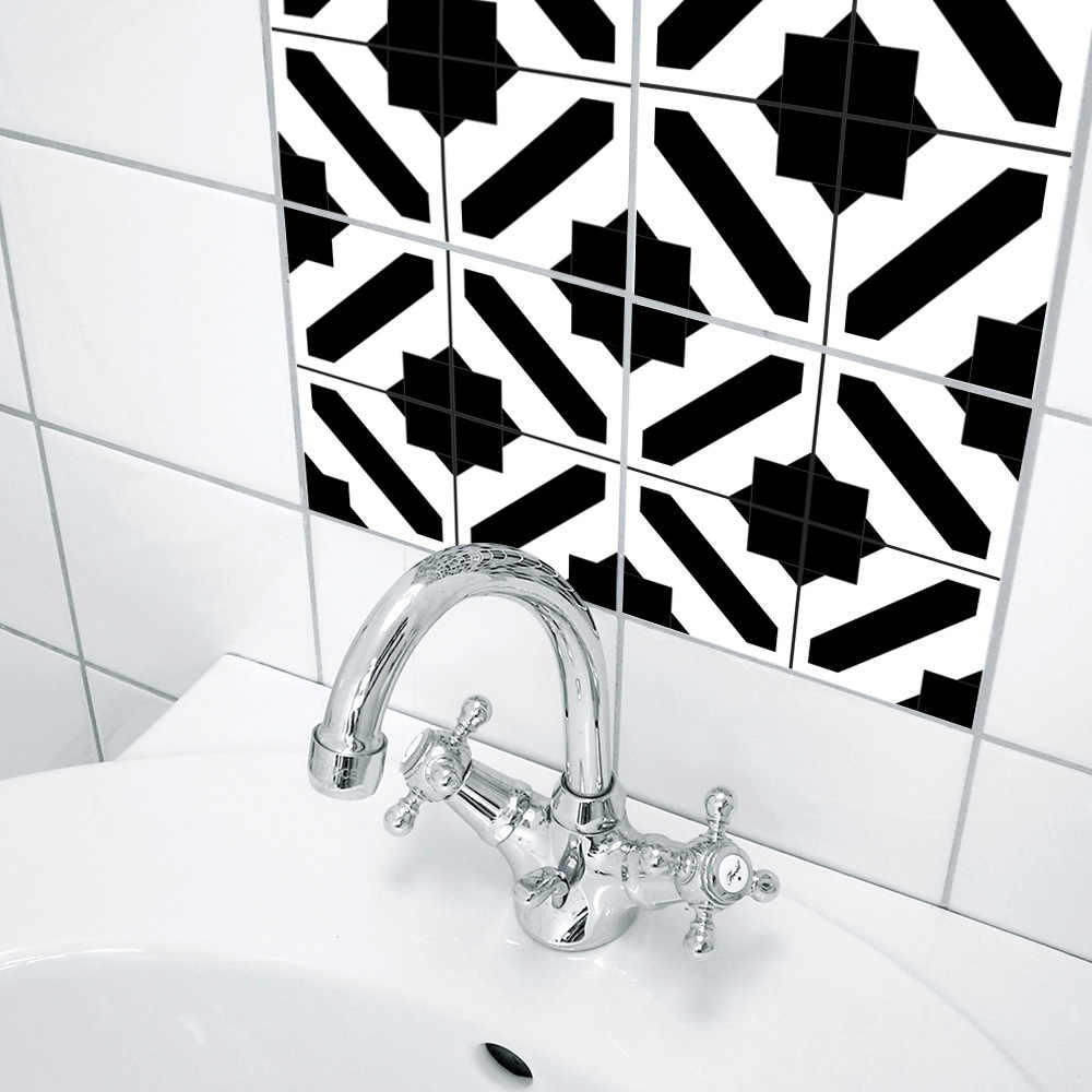 Funlife Black and White Moroccan Style Tile Bedroom Living Room Kitchen Waterproof Wall Sticker Hotel Decorative Wall Sticker