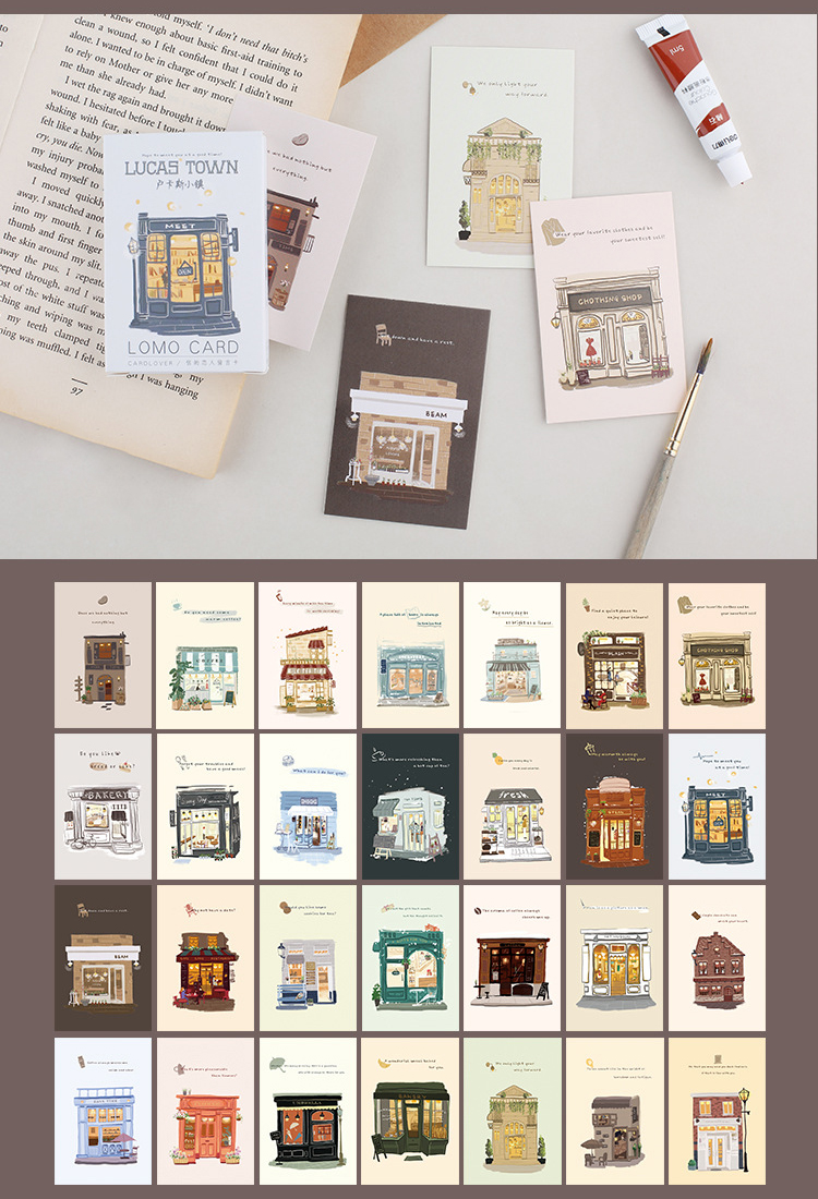Multi-use 5.2*8cm 54pcs Mini Card Shops In Small Towns Design As Scrapbooking Background Party Invitation Cards image