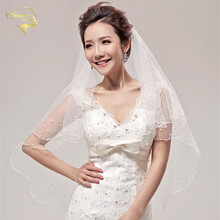 2015 Wholsale Simple Tulle Pearl Wedding Veils Two Layer Veil Bridal Accesories White / Ivory ACCESORIES OV2011