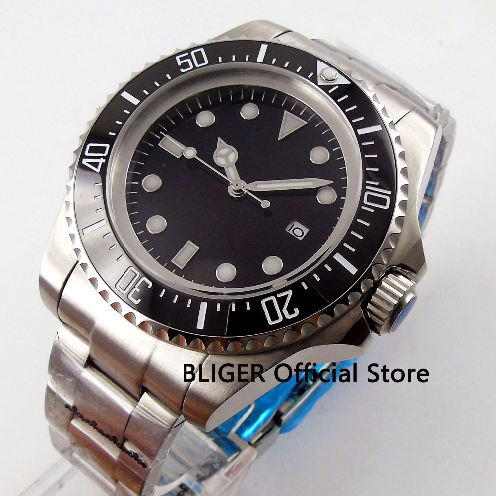 44mm BLIGER Mens Watch Big Face Nologo Dial Luminous Marks Date Window Stainless Steel Watchcase Automatic Movement Wristwatch44mm BLIGER Mens Watch Big Face Nologo Dial Luminous Marks Date Window Stainless Steel Watchcase Automatic Movement Wristwatch