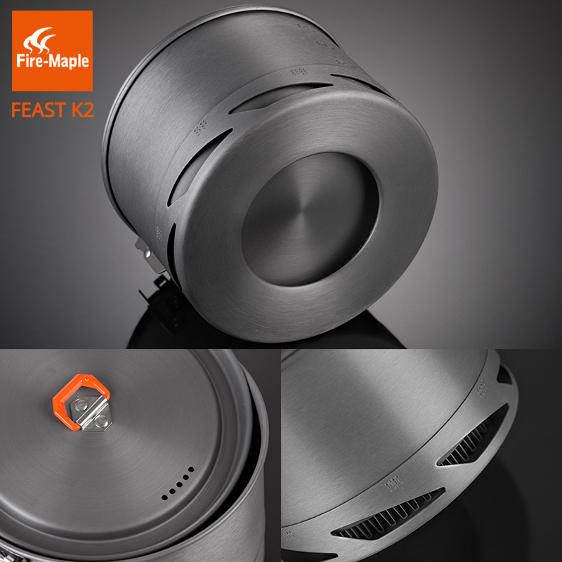Fire Maple Feast Series K2 1.5L Outdoor Portable Foldable Handle Heat Exchanger Pot Camping Kettle Picnic Cookware 338g FMC-K2