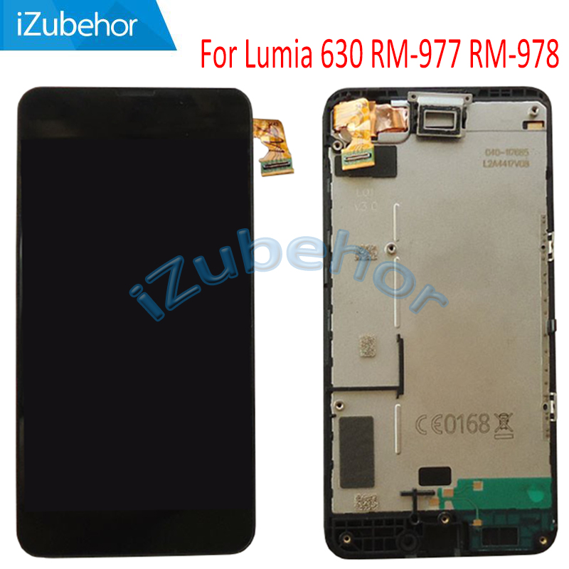 <font><b>4.5</b></font> <font><b>inch</b></font> display screen For Nokia Lumia 630 <font><b>LCD</b></font>+<font><b>touch</b></font> screen digitizer Assembly <font><b>with</b></font> frame RM-977 RM-978 <font><b>lcd</b></font> free shipping image