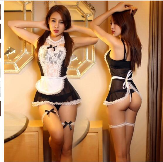 Maid Uniform Costumes Role Play Women Sexy Lingerie Hot Sexy Underwear Lovely Female White Lace Erotic Costume