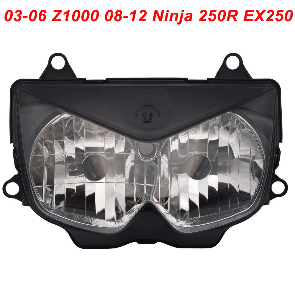 все цены на For Kawasaki 03-06 Z1000 08-12 Ninja 250R EX250 Motorcycle Front Headlight Head Light Lamp Headlamp CLEAR 2003 2004 2005 2006 онлайн