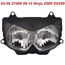 цена на For Kawasaki 03-06 Z1000 08-12 Ninja 250R EX250 Motorcycle Front Headlight Head Light Lamp Headlamp CLEAR 2003 2004 2005 2006