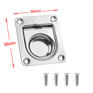Image 3 - 2 Pcs 304 Stainless Steel Flush Mount Pull Ring Hatch Latch Lift Handle Marine Boat Hatche/Cupboard/Cabin Door 2.2 x 2.6 Inch