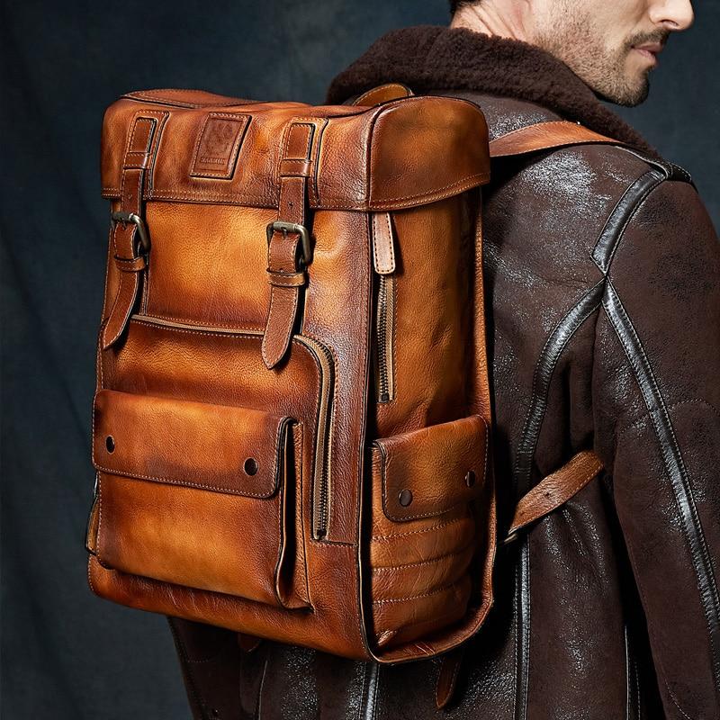 Kuh Tasche Mens Rucksack Collegebags Große Retro Reisetaschen Dunkles Leder Kakifarbiges Luxus Kapazität Awwq6H