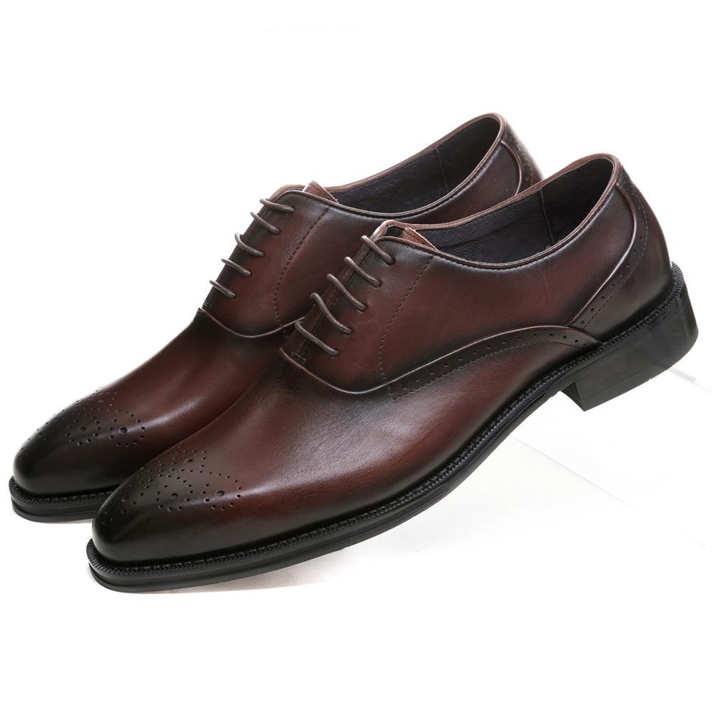 Cuir Brown De D'affaires Tan noir Welt Chaussures Tan Mariage Véritable Goodyear Brun Oxfords Hommes En black Robe Hwpz6Pq