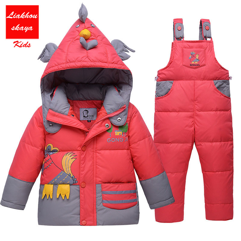 2017 New Hot Sale Baby Boys Children Winter Down Jacket Cartoon Suit Set With Hat Thick Coat+Jumpsuit Clothes Set Animal Pattern