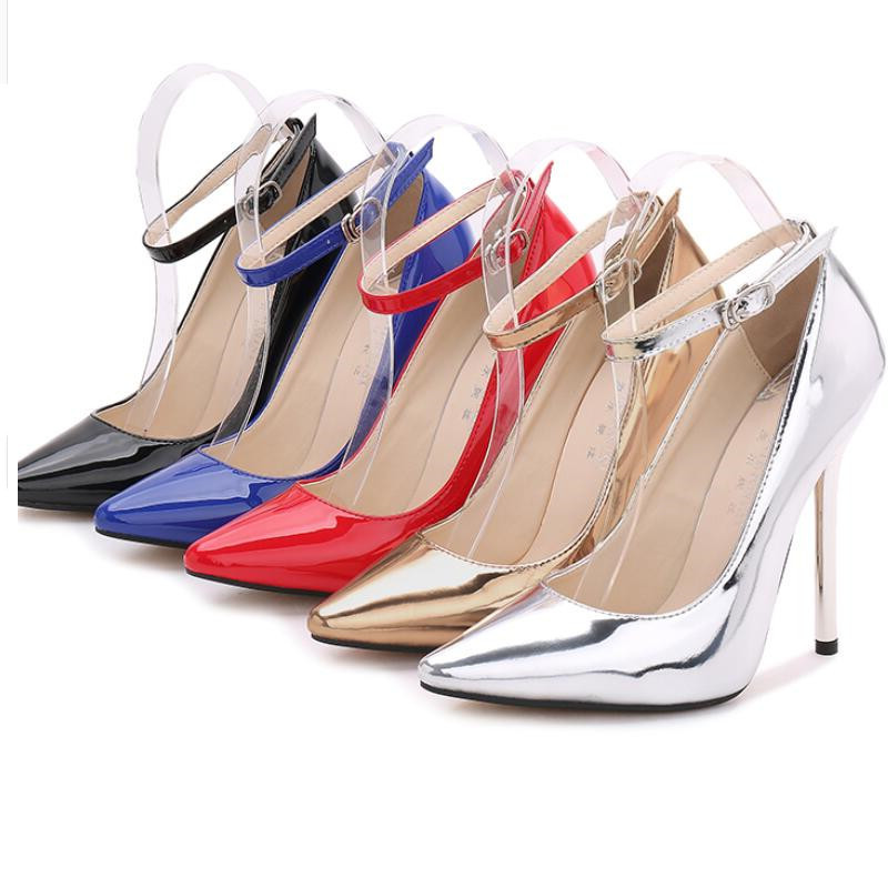 Women Thin High Heels Patent Leather Pumps Women12CM Ankle Buckle Party Shoes Ladies Pointed Toe Stiletto Heels Big Size 44 in Women 39 s Pumps from Shoes