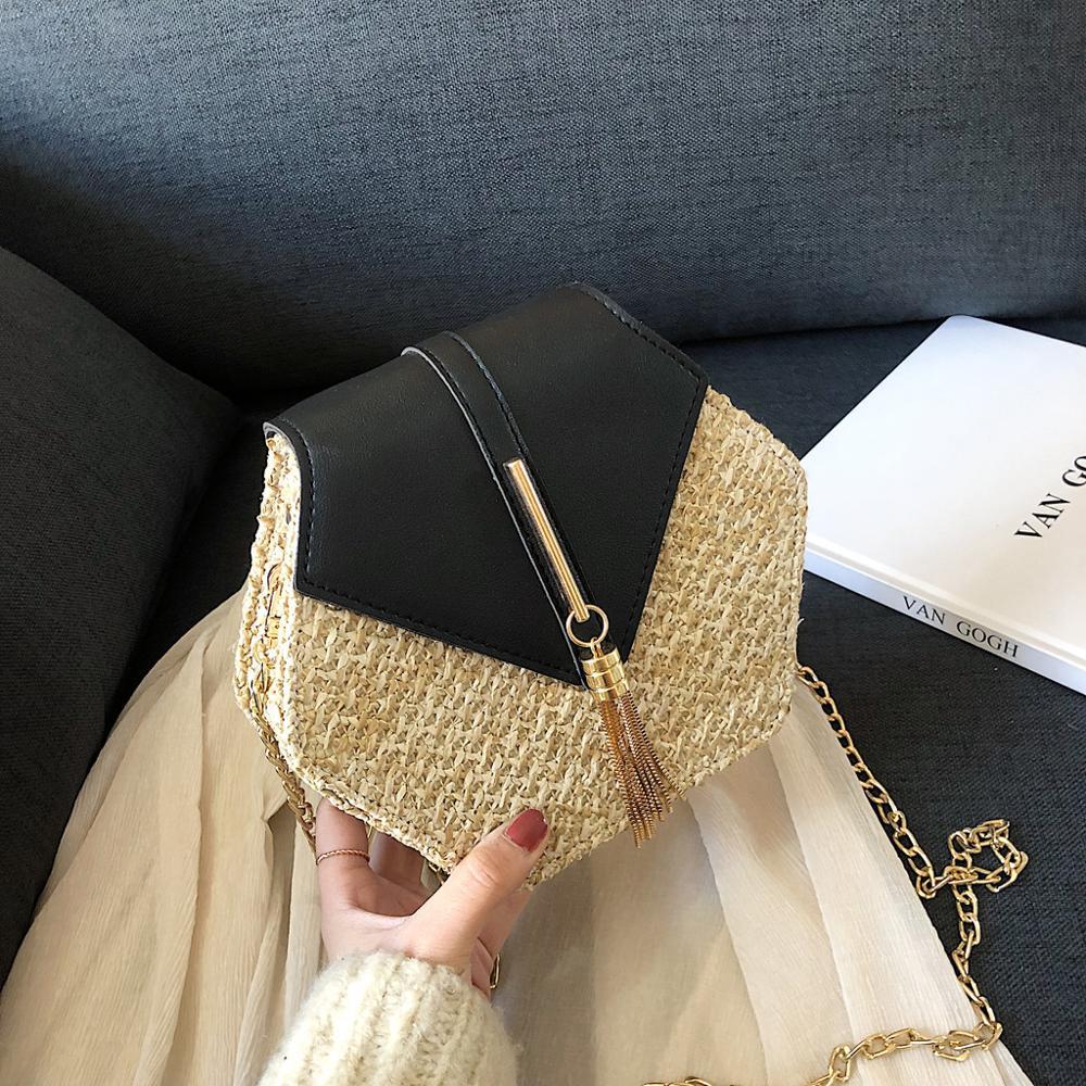 Handbags Fashion Women Retro Weave Leather Tassel Chain Crossbody Shoulder Bag Hasp Patchwork Straw Bucket Bag For Travel