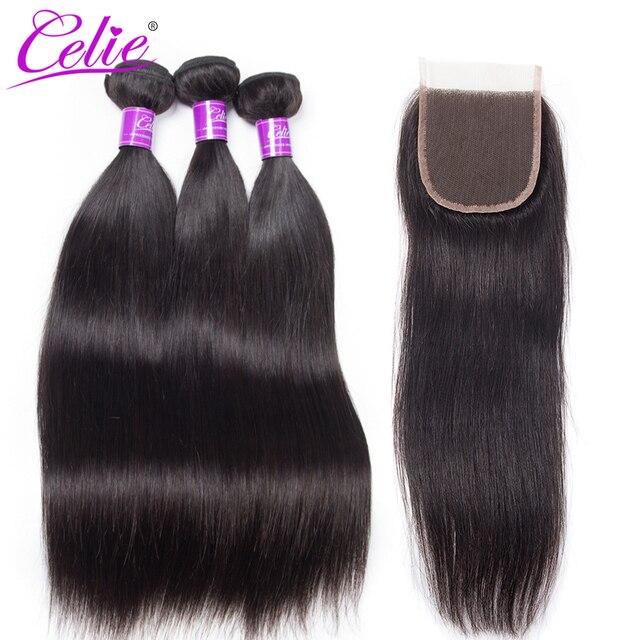 Celie Hair Mink Brazilian Straight Hair 3 Bundles With Closure 4Pcs/Lot Remy Hair Weave Human Hair Bundles With Closure