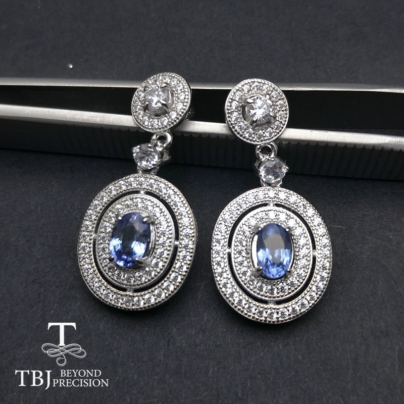 TBJ,classic earring design,natural sapphire earring in 925 sterling silver gemstone jewelry for women with gift box tbj 2017 clasp earring with natural brazil aquamarine in 925 sterling silver jewelry natural gemstone earring classic design