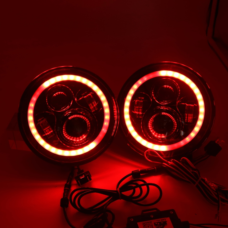For Jeep Wrangler JK TJ 7 LED Headlights RGB Halo Angel Eye with Bluetooth APP Control iPhone and Android Compatible 7 inches led starry headlights with devil demon eye and led angel for jeep wrangler jk 2 pcs