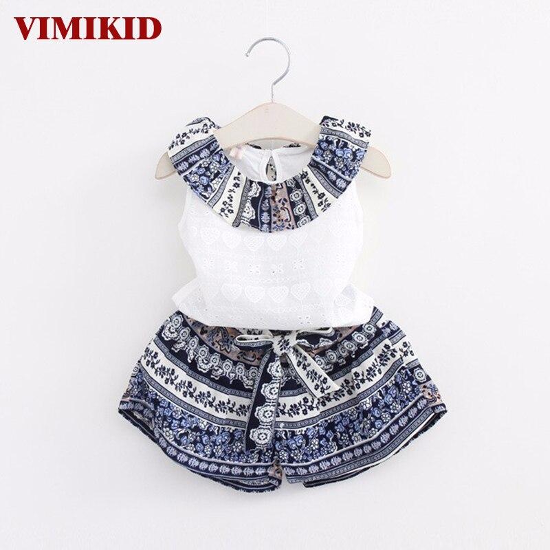 VIMIKID Girls Fashion Clothing Sets 2017 Brand Girls Clothes Kids Clothing Sets Sleeveless Whirte T-Shirt + Short 2Pcs Suits rondell rd 125 weller