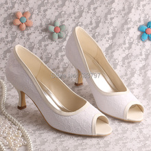 Trend Style Wedding Shoes Heels White Bridal Shoes Lace Open Toe Shoes Dropship