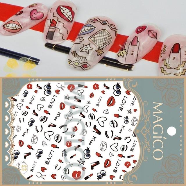 Wholesale 24pcs Red Lipstick Nail Art Stickers Heart Decals Big Eye ...
