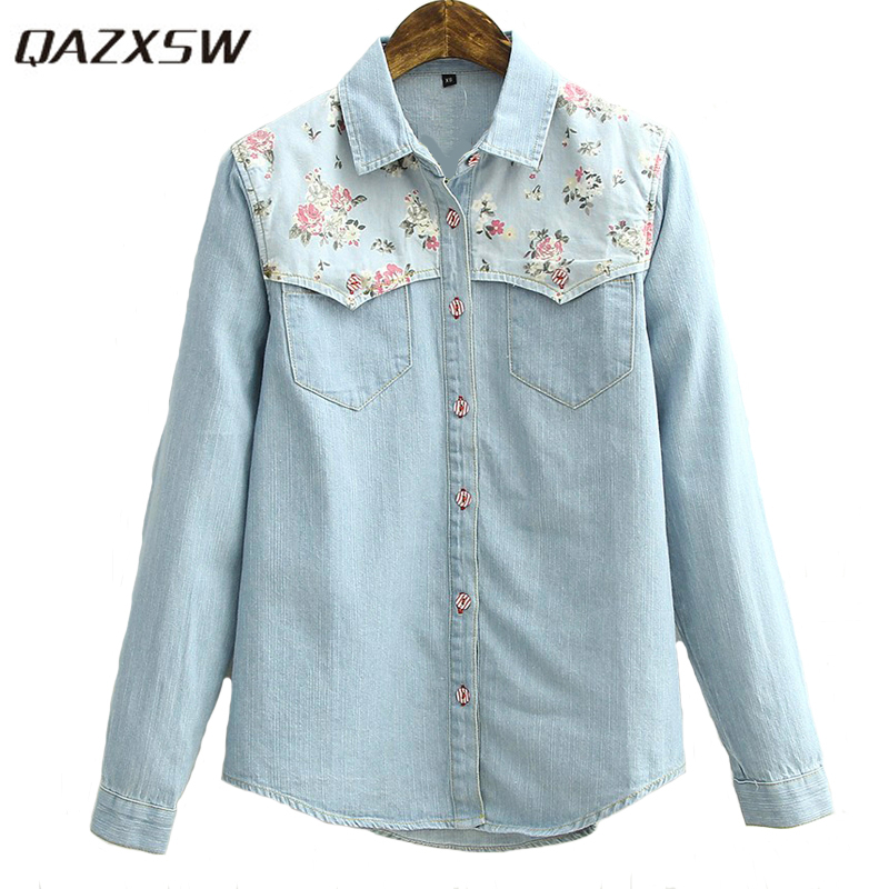 QAZXSW Fashion Ladies Sweet Floral Printed Spliced Blue Denim Women Shirts Long Sleeve Casual Slim Blouses Jeans YX2067