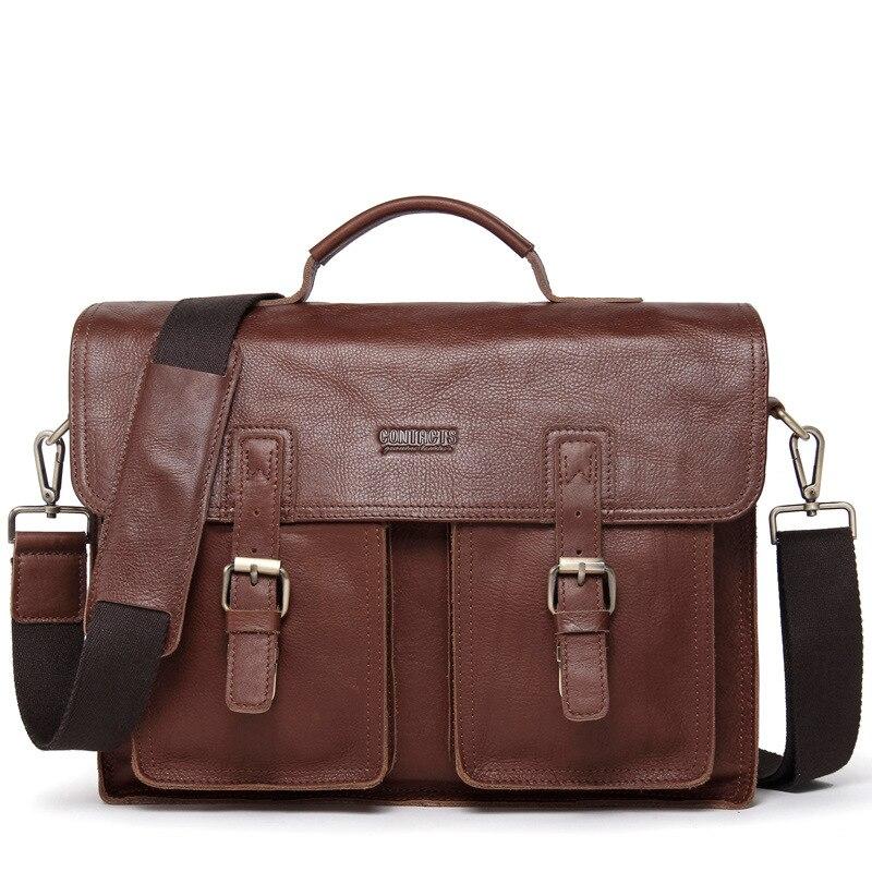 New Leather File Briefcase Retro Men