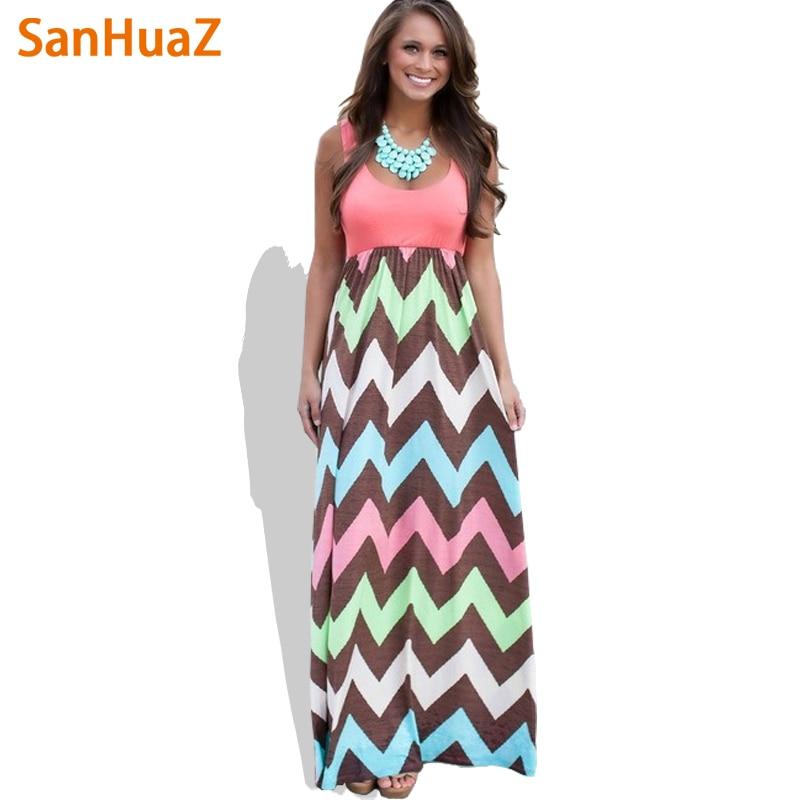 Sanhuaz 2017 عالية الجودة ماركة المرأة الصيف اللباس مخطط طباعة فستان طويل شاطئ بوهو ماكسي اللباس المؤنث بالجملة