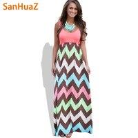 SanHuaZ 2017 Yüksek Kalite Marka Kadınlar Yaz Elbise Çizgili Baskı Uzun Elbise Plaj Boho Maxi Elbise Kadınsı Toptan