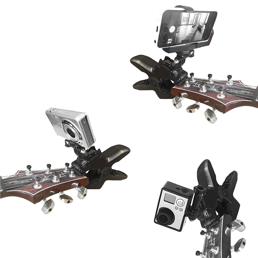 Image 2 - Guitar Headstock Cell Phone Clamp Clip Mount for Smartphones and Gopro Action Cameras   Close Up Home Recording-in Sports Camcorder Cases from Consumer Electronics
