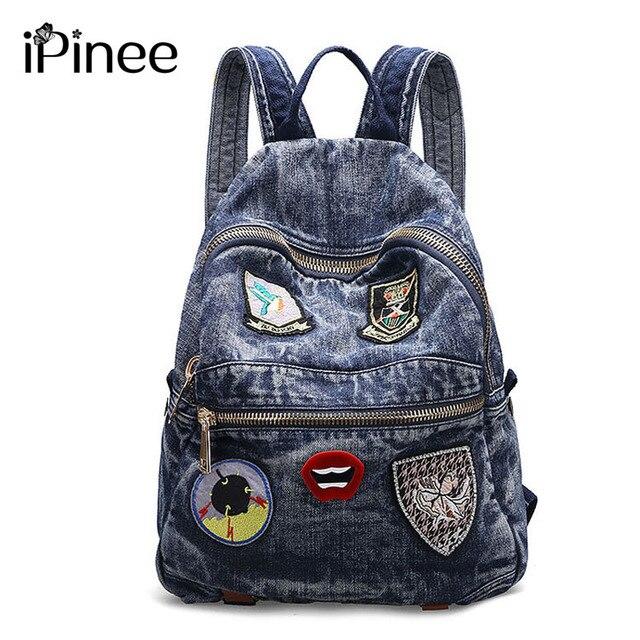 7684ed15a7cf IPinee Для женщин рюкзак Лидер продаж модные повседневные сумки Высокое  качество Micro главе женская сумка джинсовая