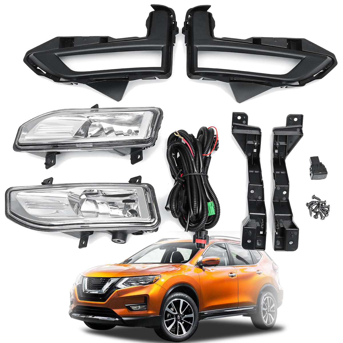 2018 Front Bumper Driving Spot Light Fog Lamp  Assembly Kit for Nissan Rogue for Nissan X-Trail