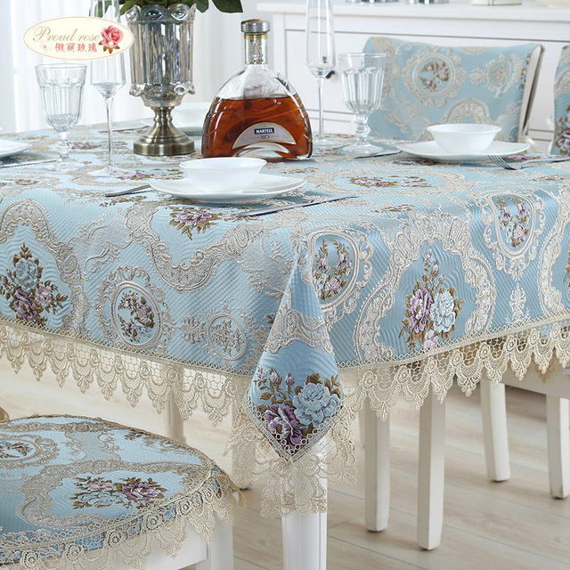 Proud Rose European Jacquard Table Cloth Lace Tablecloth Table Runner  Wedding Decor Table Cover Dustproof Cloth