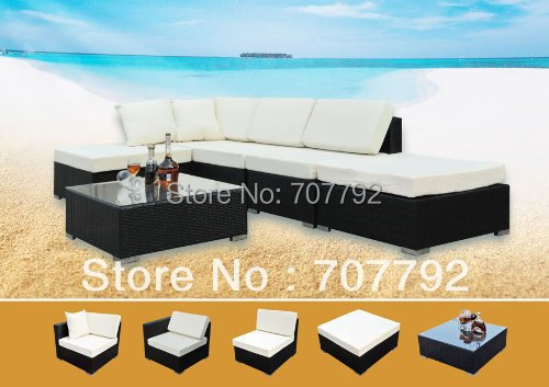 Rattan Seating Furniture 5pcs Garden Patio Sofa Aluminum Frame Black. Online Get Cheap Black Rattan Garden Furniture  Aliexpress com
