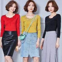 Women's Shirt 2016 Winter Autumn Pure Cotton Women's Blouses Work Wear Long Sleeve V Neck Casual Tops Female Underwear Shirt