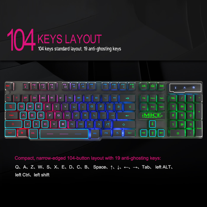 Image 2 - iMice Gaming Keyboard 7 Colors LED Backlit USB Wired Gamer Keyboard Professional Gaming Keyboard for PC Desktop Laptop Computer-in Keyboards from Computer & Office