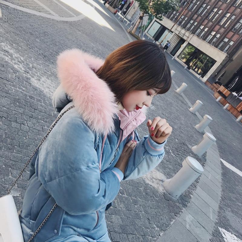 Большой меховой зимнее пальто утепленная парка Для женщин шить длинное зимнее пальто вниз хлопок дамы Парка на пуху пуховик Для женщин 2018