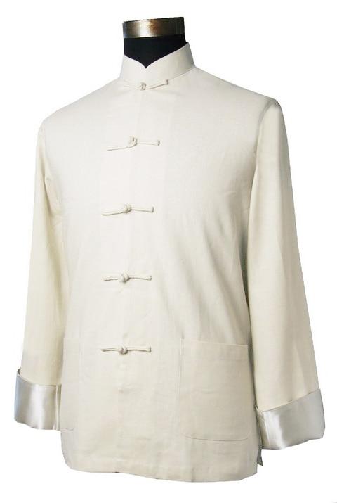 Summer Hot Sale Beige Men's Linen Jacket Chinese Novelty Coat Kung Fu Tang Suit One Button Costume Size S M L XL XXL XXXL K0112
