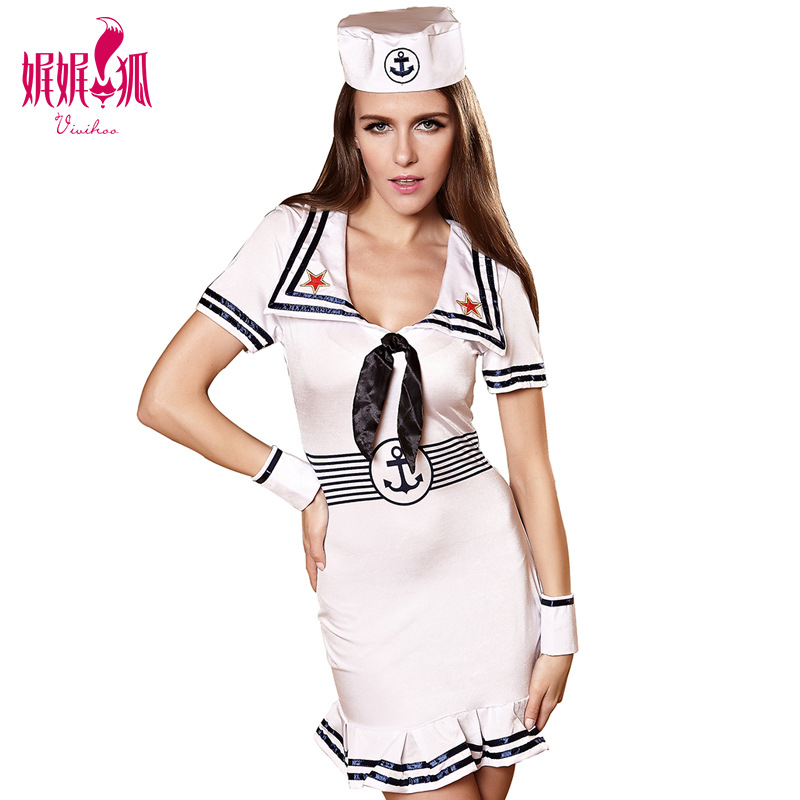 Women's Sexy Sailor Costume Plus Size Seaman Dress Adult Sailor Girl Uniform Halloween Party  Costumes Hot