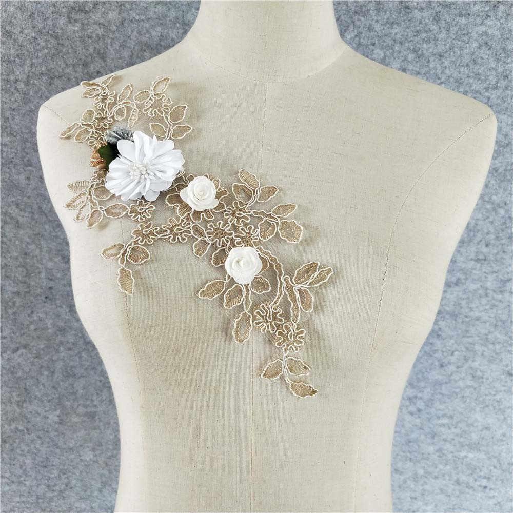 3D Floral Flor Encaje Cuello Escote bordado Venise Cuello Adorno ropa Sewin