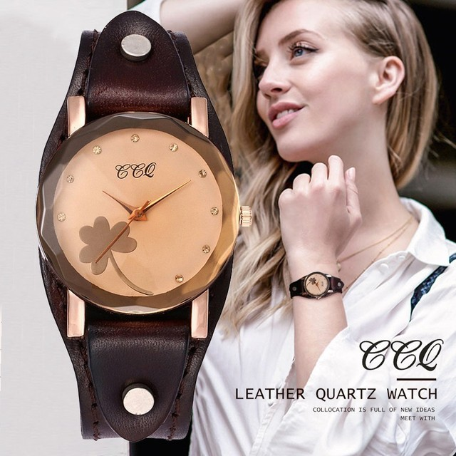 Dropshipping Vintage Flower Dial Cow Leather Clover Bracelet Watch Women Men Cas