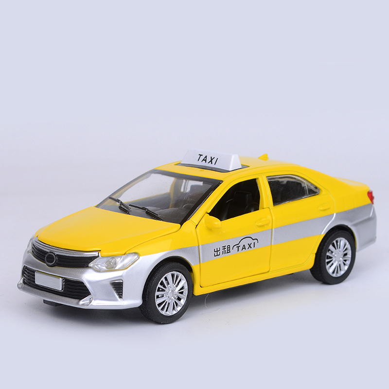 1:32 Yellow Taxi Cab Vehicle Alloy Diecast Toy Car Model Collection Gift Cars Toys For Children Kids