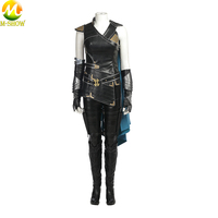 Thor Ragnarok Cosplay Costume Thor 3 Valkyrie Cosplay Halloween Costume For Women Leather Cloak Top Pants Custom Made