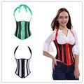 Mulheres Sexy Stripe Strap Overbust Corset Halter Pescoço Cintura Cincher Burlesque Clubwear Bustier Plus Size S-6XL