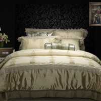 luxury Cotton Silk Lace Western Style Embroidery White/Gold/Purple Bedding Set Duvet Cover Bed Linen Bed sheet Pillowcase 4pcs