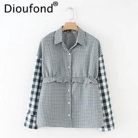 Dioufond 2018 Spring Women Plaid Blouses Fashion Ruffles Patchwork Shirt Turn Down Collar Casual Tops Long